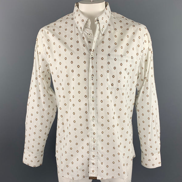 BILLY REID Size XL White Print Cotton Button Down Long Sleeve Shirt