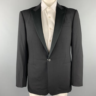RALPH LAUREN Purple Label Size 42 Long Black Wool Tuxedo Sport Coat