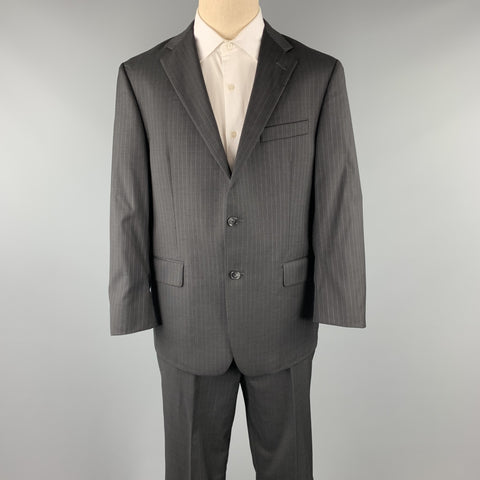 HICKEY FREEMAN Size 42 Short Black Stripe Wool Notch Lapel Suit