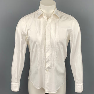 VALENTINO Size M White Embroidery Cotton Tuxedo Long Sleeve Shirt