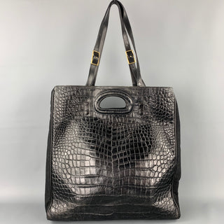 DRIES VAN NOTEN Black Alligator Embossed Leather Canvas Tote Handbag