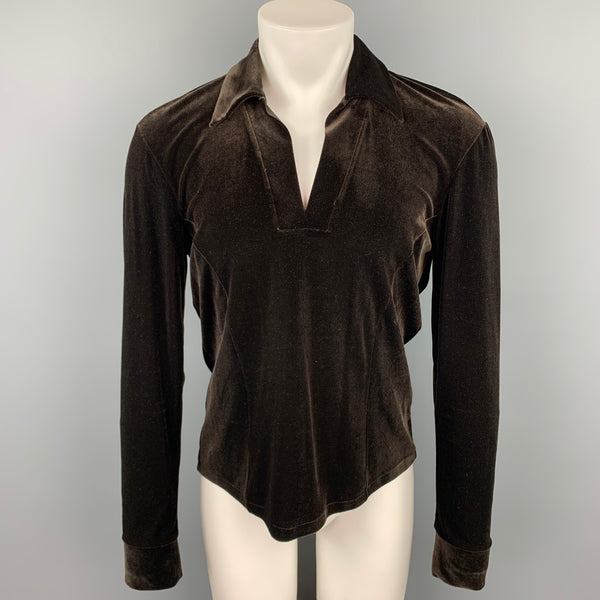 JOHN BARTLETT Size S Brown Velvet V-Neck Pullover