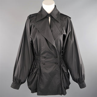 CHANEL Size 6 Black Double Breasted Balloon Sleeve Windbreaker Jacket