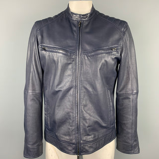 JOHN VARVATOS * U.S.A. Size L Navy Leather Zip Up Jacket
