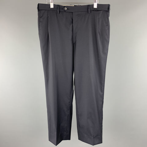 BRIONI Size 32 x 26 Navy Solid Wool Flat Front Dress Pants