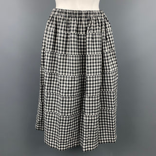 COMME des GARCONS TRICOT Size M Black & White Wool / Linen Circle Skirt
