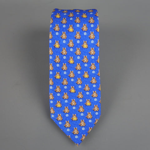 BATTISTONI Blue Silk Polka Dot Kitty Cat Print Neck Tie