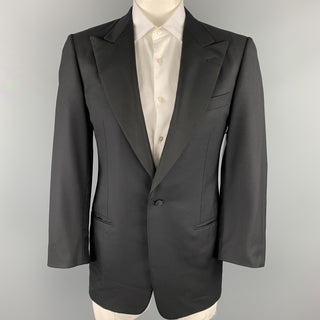 ERMENEGILDO ZEGNA Size 40 Regular Black Wool Peak Lapel Tuxedo