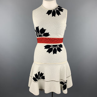 ALEXANDER MCQUEEN Size L White & Black Floral Ruffle Skirt Cocktail Dress