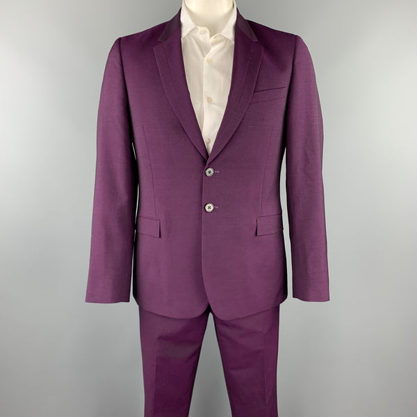 PS by PAUL SMITH Size 42 Purple Wool / Mohair Notch Lapel Suit