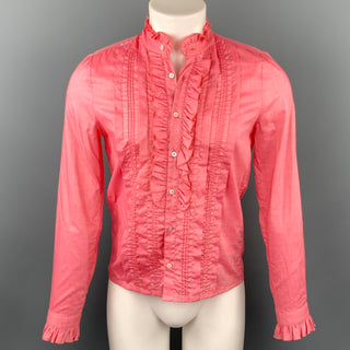 GUCCI Size S Coral Cotton / Viscose Ruffle Long Sleeve Shirt