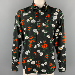 DSQUARED2 Size L Black Floral Cotton Button Up Long Sleeve Shirt