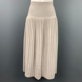 TSE Size L Nude Knitted Pleated Cashmere Long Skirt