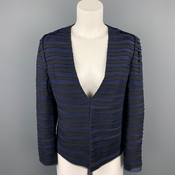 DKNY Size S Black & Blue Textured Silk Hook & Eye Jacket