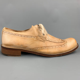 JOHN VARVATOS Size 8.5 Tan Perforated Leather Wingtip Lace Up Shoes