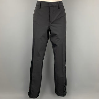 PRADA Size 10 Black Polyester Ankle Zipper Casual Pants