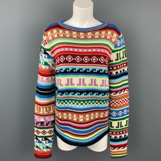 LANVIN Size L Multi-Color Jacquard Pattern JL Wool / Polyester Boat Neck Sweater