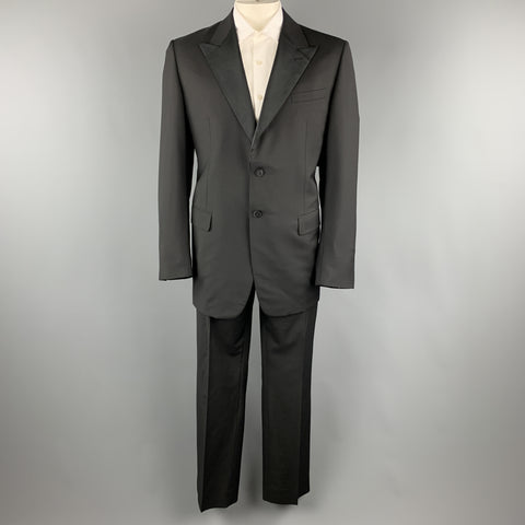 PRADA Size 46 Virgin Wool Mohair Blend Satin Peak Lapel Tuxedo