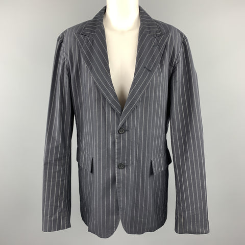 PEACHOO+KREJBERG Size L Navy Pinstriped Cotton Peak Lapel Blazer