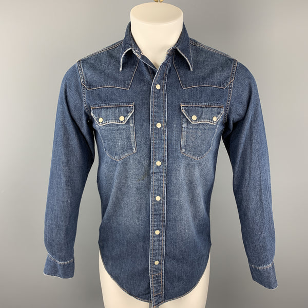 RRL by RALPH LAUREN Size XS Indigo Washed Cotton Snaps Long Sleeve Shirt