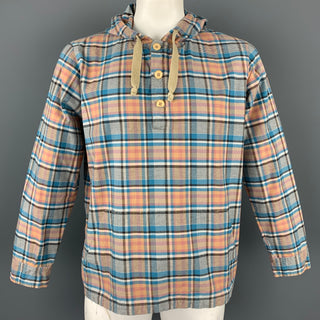 ARPENTEUR Size XL Blue & Tan Plaid Cotton Hooded Pop-Over Shirt