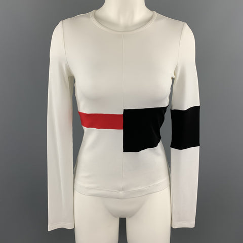 NARCISO RODRIGUEZ Size 6 White Red & Black Color Block Long Sleeve Top