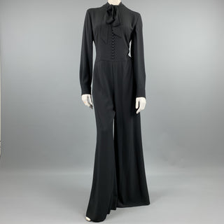 RALPH LAUREN COLLECTION Size 8 Black Viscose / Acetate Long Sleeve Wide Leg Jumpsuit