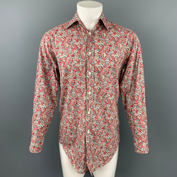 LIBERTY OF LONDON Size M Burgundy Floral Cotton Button Up Long Sleeve Shirt