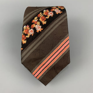 KENZO Brown & Pink Floral Striped Textured Silk Tie