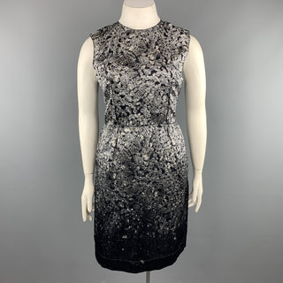 LANVIN Size 8 Grey & Black Diamonds Print Satin Sleeveless Shift Dress