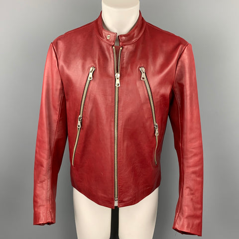 MARTIN MARGIELA Size Size M Brick Red Leather Motorcycle Jacket