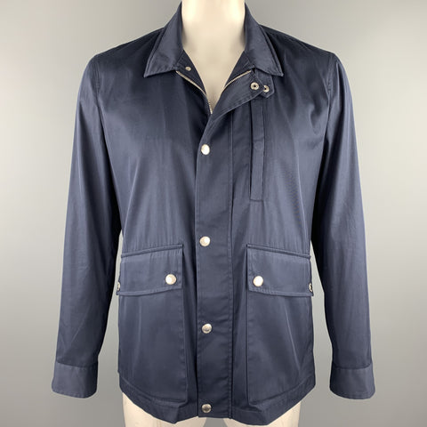 BRUNELLO CUCINELLI Size 42 Navy Cotton Blend Zip & Snaps Jacket