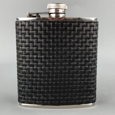 NEIMAN MARCUS Colfax Woven Black Stainless Steel Flask