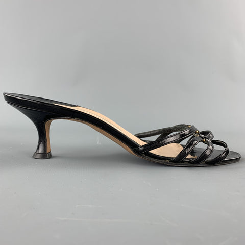 MANOLO BLAHNIK Size 7.5 Black Patent Leather Strappy Sandals