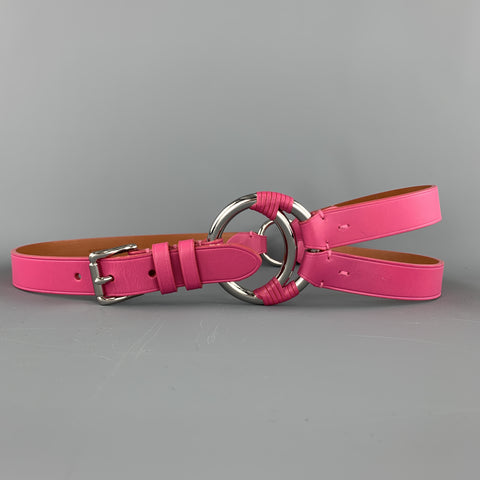 RALPH LAUREN Size M Fuchsia Pink Leather Loop 3 Strap Belt