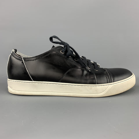 LANVIN Size 10 Black Smooth Leather Lace Up Cap Toe Sneakers
