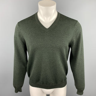 BROOKS BROTHERS Size S Forest Green Wool Blend V-Neck Pullover