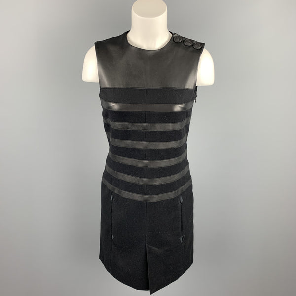 GAULTIER 2 Size 6 Black Virgin Wool Leather Trim Shift Dress