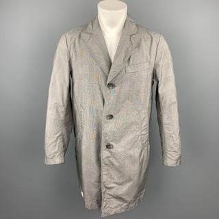 ENGINEERED GARMENTS Size S Grey Glenplaid Cotton Peak Lapel Coat