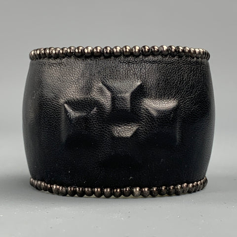 VINTAGE Black Studded Leather Metal Bracelet