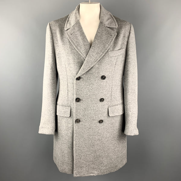 ISAIA Size 46 Gray Angora / Wool Double Breasted Long Peacoat