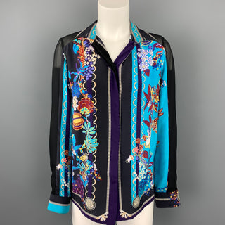 VERSACE Size 6 Multi-Color Floral Silk Buttoned Blouse
