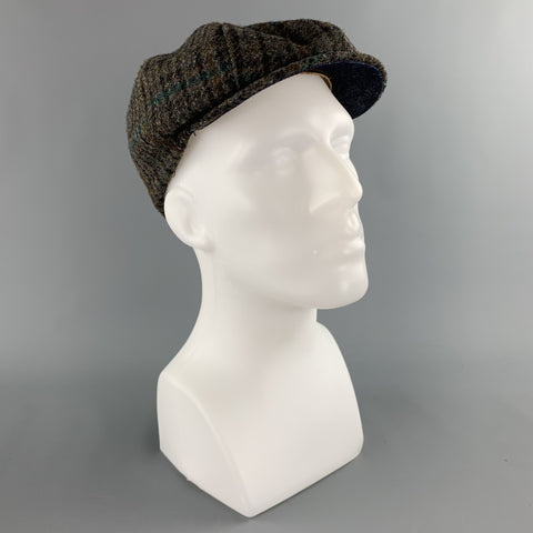 THE BROOKLYN CIRCUS Size S Grey Herringbone Tweed Leather Trim Hat
