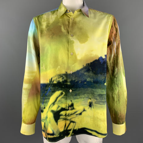 PAUL SMITH Size XXL Green & Yellow Landscape Print Cotton Button Up Long Sleeve Shirt
