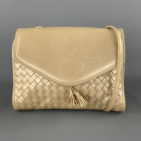 BOTTEGA VENETA Woven Champagne Metallic Intrecciato Leather Shoulder bag