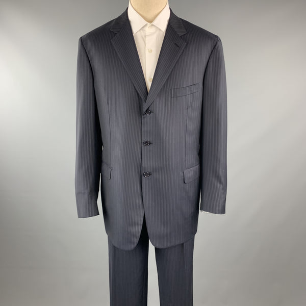 BRIONI 46 Navy Stripe Wool 40 x 33 Notch Lapel Suit