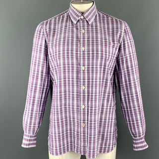 ISAIA Size L Purple Plaid Cotton Button Up Long Sleeve Shirt