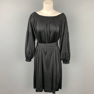 PRADA Size S Black Jersey Polyester Bohemian Belted Dress