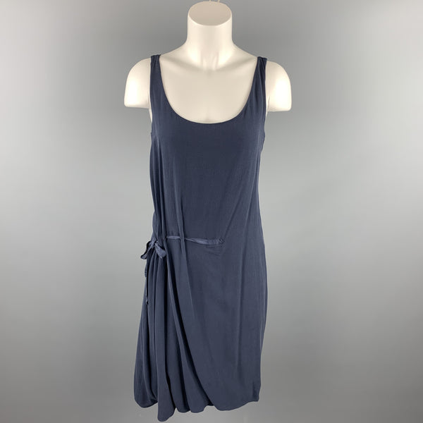 HANNOH Size 2 Navy Chiffon Silk / Cotton Gathered Tie Dress