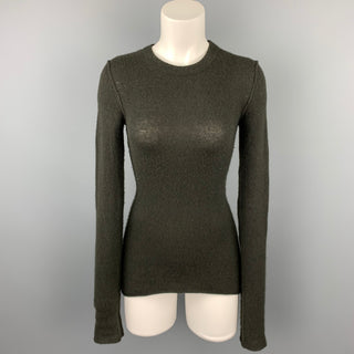 INHABIT Size S Olive Knitted Cashmere Blend Crew-Neck Sweater
